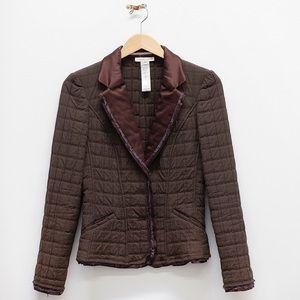 Vintage Christian Lacroix Silk Trim Brown Blazer